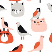 Funny Cats And Birds Seamless Pattern. Pet Vector Illustration. Cartoon Doodle Animals Background. C poster