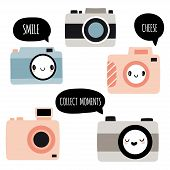 Set Of Kawaii Cameras With Different Cute Faces And Speech Bubbles: Smile, Cheese, Collect Moments.  poster