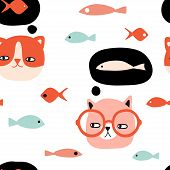 Funny Cats And Fish Seamless Pattern. Pet Vector Illustration. Cartoon Doodle Animals Background. Cu poster
