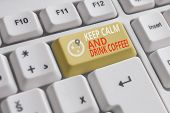 Word Writing Text Keep Calm And Drink Coffee. Business Concept For Encourage Demonstrating To Enjoy  poster
