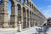 Roman Aqueduct, Emblematic Monument Of The City Built With 167 Arches On 2 Levels. Segovia, Castilla poster