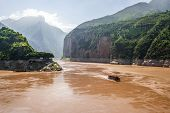 Qutang Gorge Scenic View The First Of The Three Gorges With Yangtze River View And Boat From Baidich poster