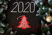 New Year And Christmas Greeting Card. New Years Concept poster