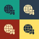 Color Honeycomb Map Of The World And Bee Icon Isolated On Color Background. World Bee Day. Concept E poster