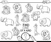 Black And White Cartoon Illustration Of Find One Of A Kind Picture Educational Activity Game With Wi poster
