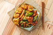 Subgum Wonton Dinner With Beef Pork Shrimp Chicken And Sauteed Mixed Chinese Vegetables poster