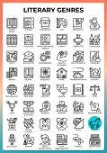 Literary Genres Concept Icons Set In Modern Line Icon Style For Ui, Ux, Web, Mobile App Design, Etc. poster
