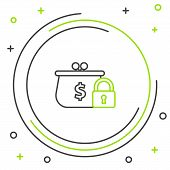 Black And Green Line Closed Wallet With Lock Icon On White Background. Locked Wallet. Security, Safe poster