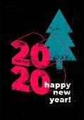 Happy New 2020 Year! Typographic Grunge Minimal Style Poster Design. Retro Vector Illustration. poster