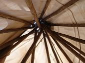 stock photo of teepee  - Teepee posts lashed together for an interesting view - JPG