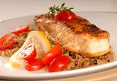 Halibut Seared On A Bed Of Brown Rice