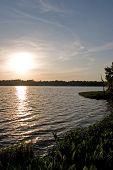 Sunset Over Lake Wauberg In Florida
