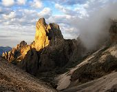 morning view of cima della madonna in pale di san martino - dolomiti italy