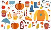 Vector Graphics. Big Autumnal Set. Cartoon Illustration. Illustration With Autumn Symbols And Attrib poster