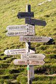 tourist guidepost under peitlerkofel - dolomiti italy