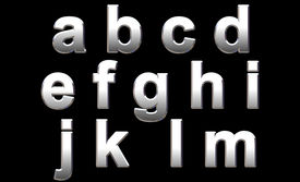 stock photo of alphabet letters  - Chrome Alphabet Isolated on Black - JPG