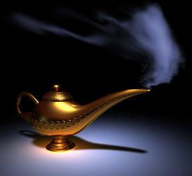 picture of aladdin  - Golden Aladdin lamp smoking  - JPG