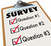 A checklist on a wooden clipboard with the word Survey and a list of questions to gather customer or