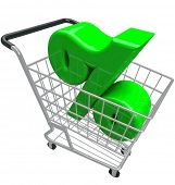 foto of cart  - A green percent or percentage symbol in a shopping cart to represent comparison hunting for the best or lowest interest rate or inflation affecting prices for products you want to buy - JPG