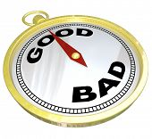 A gold compass with the words Good and Bad with needle pointing to Good, meaning that positive quali