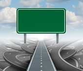 foto of leadership  - Strategy blank sign as a clear plan and solutions for business leadership with a straight path to success choosing the right strategic road with a green highway signage with copy space on a sky background - JPG