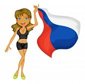 Illustration of a smiling girl with a national flag of Russia on a white background