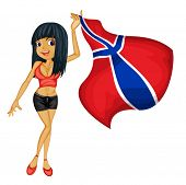 Illustration of a smiling girl with a national flag of Norway on a white background