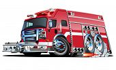 picture of ladder truck  - Vector Cartoon Fire Truck Hotrod - JPG