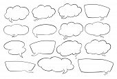 illustration of various shapes of speech bubbles on a white background