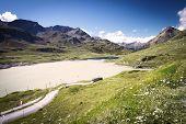 Bernina Mountain Pass In Swiss Alps Near St. Moritz