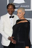 LOS ANGELES - FEB 10:  Wiz Khalifa, Amber Rose arrive at the 55th Annual Grammy Awards at the Staple