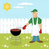 stock photo of frizzle  - Man cooking a barbecue on the backyard - JPG
