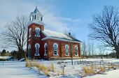 United church in winter Brigham Quebec, Canada