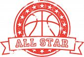 Basketball All Star Distressed Vector
