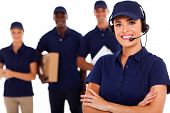 stock photo of dispatch  - professional courier service dispatcher and staff - JPG