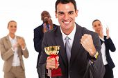 stock photo of half-dressed  - smart business team winning a competition - JPG