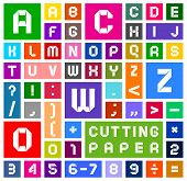 stock photo of arabic numerals  - Roman alphabet and Arabic numerals of paper - JPG