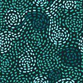 Abstract mosaic blue swirls seamless pattern, vector