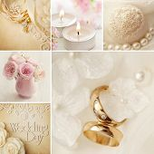 wedding decoration collage with wedding rings