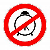 stock photo of taboo  - prohibition traffic sign meaning no alarm clock - JPG