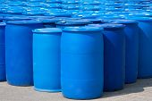 picture of drums  - Chemical Plant Plastic Storage Drums Blue Barrels - JPG