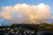 picture of punchbowl  - Clouds at sunset taken in Hawaii from a location known as the Punchbowl - JPG