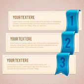 Set of 3 option banners with blue ribbon
