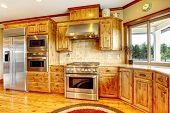 image of stool  - Wood luxury home kitchen interior - JPG