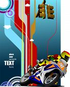 Abstract Hi-tech Background With Biker Image. Vector Illustration