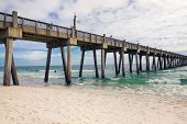 stock photo of tide  - View of Pensacola Pier Pensacola Florida in winter - JPG