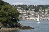 stock photo of dartmouth  - view of dartmouth from the castle on the estuary of the river dart devon - JPG