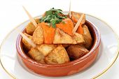 patatas bravas, fried potatoes with a spicy tomato sauce, spanish tapas cuisine