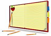 Illustration Of Notebook With Pencil, Needle And Heart