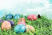 Colorful Tie Dyed Easter Eggs